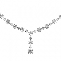 Womens Diamond Cluster Y Shape Lariat Necklace 18K White Gold