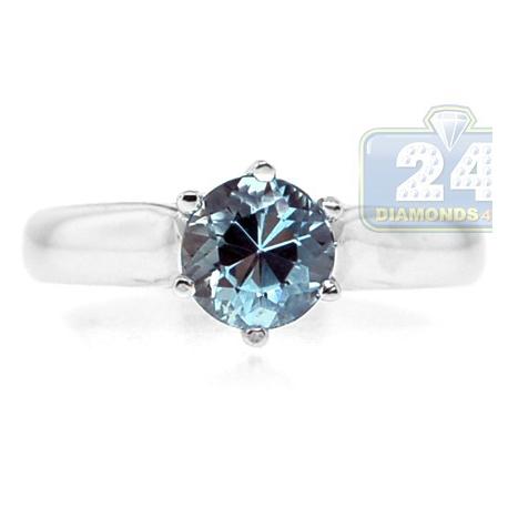 14K White Gold 0.95 ct Aquamarine Gemstone Solitaire Engagement Ring