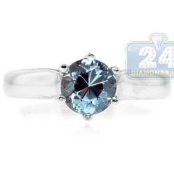 14K White Gold Aquamarine Gemstone Solitaire Engagement Ring