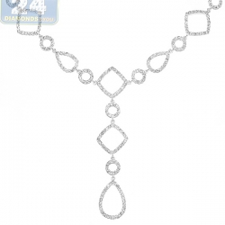 Womens Diamond Geometric Lariat Necklace 14K White Gold 2.45ct