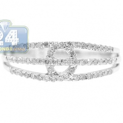 14K White Gold 0.36 ct 3 Row Diamond Open Design Womens Ring