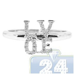 14K White Gold 0.12 ct Diamond LOVE Sign Womens Ring