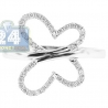 14K White Gold 0.24 ct Diamond Butterfly Silhouette Womens Ring