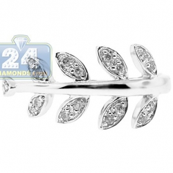 14K White Gold 0.16 ct Diamond Leaf Patterned Womens Ring