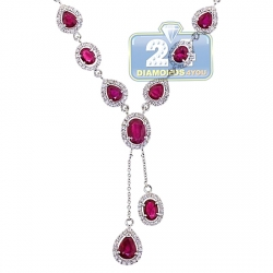 Womens Diamond Ruby Lariat Drop Necklace 18K White Gold 6.84ct