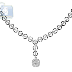 18K White Gold 1.57 ct Diamond Drop Womens Y Shape Necklace