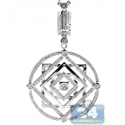 Womens Diamond Layered Freedom Pendant Necklace 14K White Gold