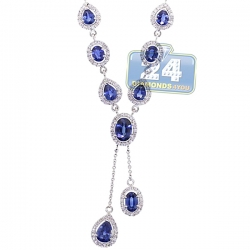 Womens Blue Diamond Sapphire Lariat Drop Necklace 18K White Gold