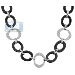 14K White Gold Ceramic 1.27 ct Diamond Womens Collar Necklace