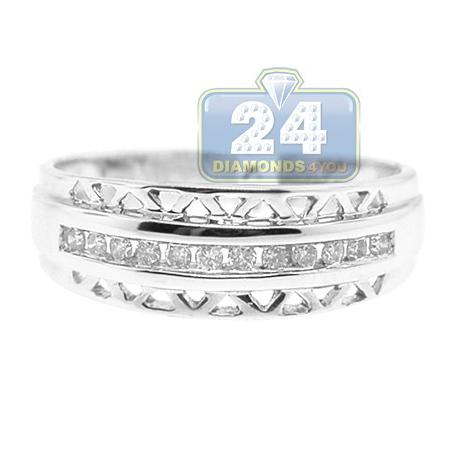 14K White Gold 0.16 ct Diamond Vintage Openwork Womens Band Ring