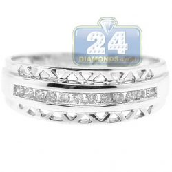 14K White Gold Diamond Vintage Openwork Womens Band Ring