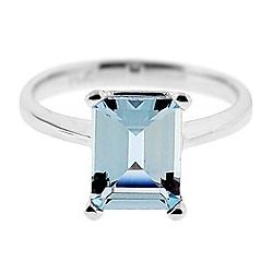 14K White Gold 1.83 ct Aquamarine Solitaire Engagement Ring