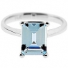 14K White Gold 1.83 ct Emerald Cut Aquamarine Solitaire Engagement Ring