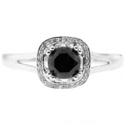 14K White Gold 0.94 ct Black Diamond Halo Womens Engagement Ring