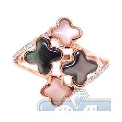 14K Rose Gold 0.20 ct Diamond Multicolored Opal Clover Ring