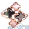 14K Pink Gold 0.20 ct Diamond Multicolored Opal Clover Womens Ring