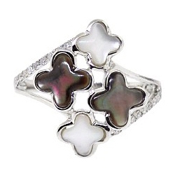 14K White Gold 0.20 ct Diamond Multicolored Opal Clover Womens Ring
