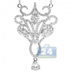 14K White Gold 2.41 ct Diamond Chandelier Pendant Necklace