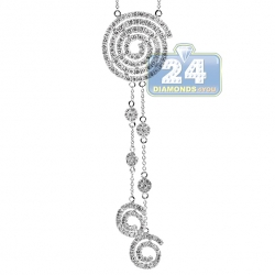 14K White Gold 2.50 ct Diamond Evil Eye Womens Lariat Necklace
