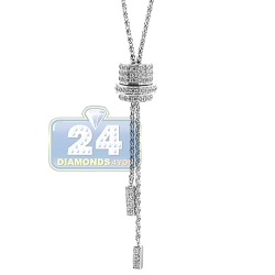 14K White Gold 1.09 ct Diamond Adjustable Slider Lariat Necklace