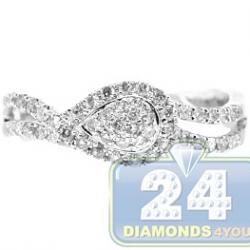 14K White Gold 0.48 ct Diamond Cluster Womens Infinity Ring