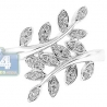 14K White Gold 0.14 ct Diamond Womens Double Leaf Ring