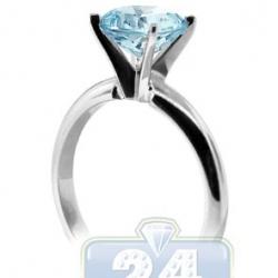 14K White Gold Aquamarine Solitaire Womens Engagement Ring