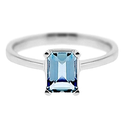 14K White Gold 0.97 ct Emerald Cut Aquamarine Solitaire Engagement Ring