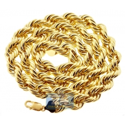 Italian 10K Yellow Gold Hollow Rope Mens Chain 12 mm