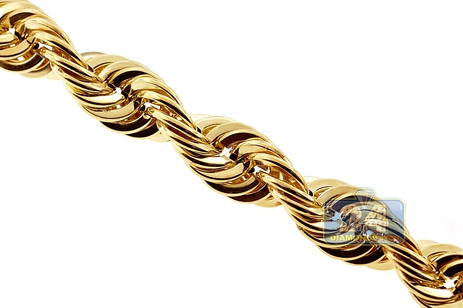 Italian 10k Yellow Gold Hollow Rope Mens Chain Necklace 12 Mm