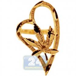 10K Yellow Gold Marijuana Leaf Open Heart Womens Ring