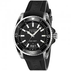 YA136204 Gucci Dive Black Dial Rubber Strap Mens Watch