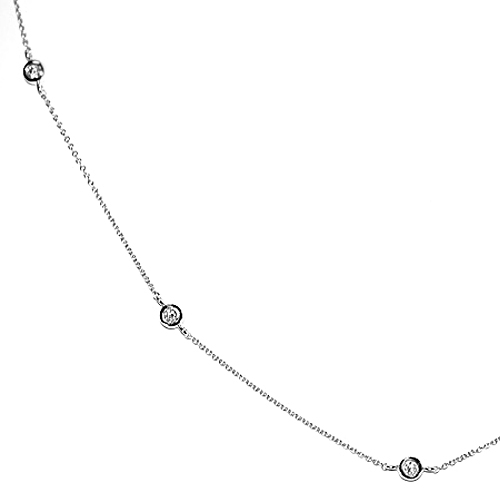 9b179a2d6d0df 14K White Gold 1.10 ct Diamonds by the Yard Necklace 24 Inches
