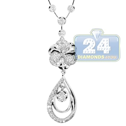 14K White Gold 1.25 ct Diamond Flower Womens Lariat Necklace