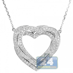 14K White Gold 1.04 ct Diamond Layered Heart Pendant Necklace