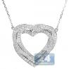 Womens Diamond Layered Heart Pendant Necklace 14K White Gold