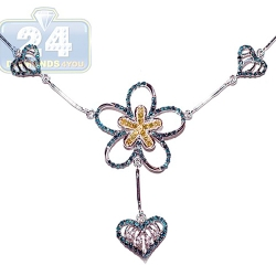 14K White Gold 1.10 ct Diamond Heart Flower Womens Necklace
