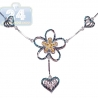Womens Diamond Heart Flower Necklace 14K White Gold 1.10ct 18""