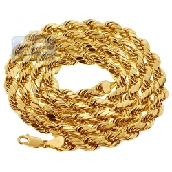 Italian 10K Yellow Gold Hollow Rope Mens Chain 5 mm