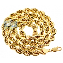 Real Italian 10K Yellow Gold Hollow Rope Mens Chain 6 mm
