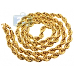 Italian 10K Yellow Gold Hollow Rope Mens Chain 3 mm