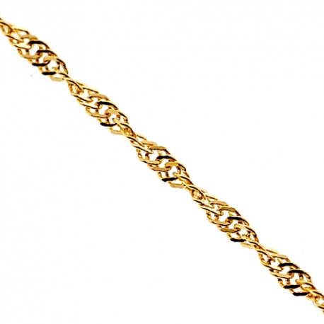 Solid 14K Yellow Gold Singapore Rope Womens Chain 2.5 mm