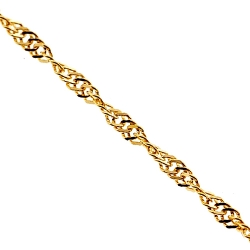 Solid 14K Yellow Gold Singapore Rope Womens Chain Necklace 1mm