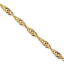 14K Yellow Gold Singapore Rope Womens Chain 1 mm