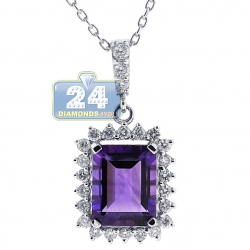 18K White Gold 2.55 ct Amethyst Diamond Halo Pendant Necklace