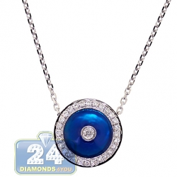 14K White Gold 0.35 ct Diamond Blue Evil Eye Womens Necklace