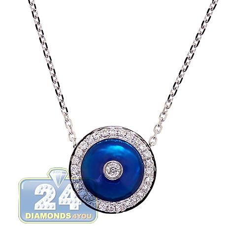Womens Diamond Blue Evil Eye Necklace 14K White Gold 18