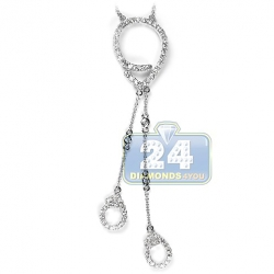 14K White Gold 1.16 ct Diamond Evil Eye Womens Lariat Necklace
