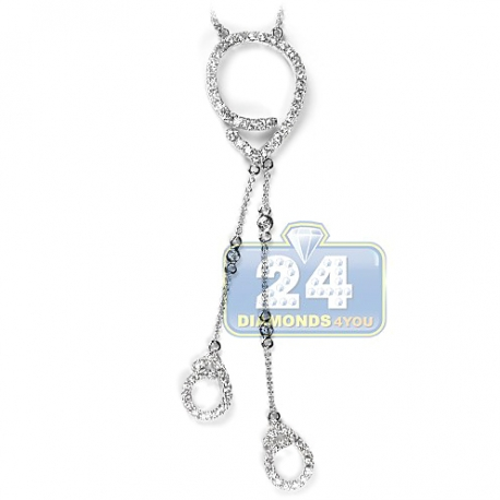Womens Diamond Evil Eye Lariat Necklace 14K White Gold 1.16ct 18""