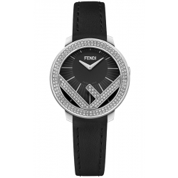 F710021011B0 Fendi Run Away 28mm Full Diamond Black Watch